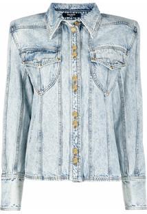 Balmain Jaqueta Jeans Com Recortes - Azul