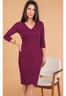 Vestido Em Ribana Púrpura Moda Evangélica