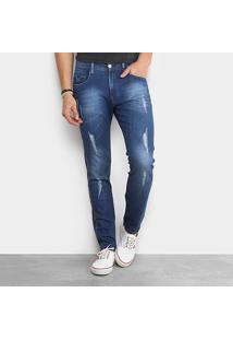 Calça Jeans Slim Replay Anbass Estonada Puídos Masculina - Masculino-Azul