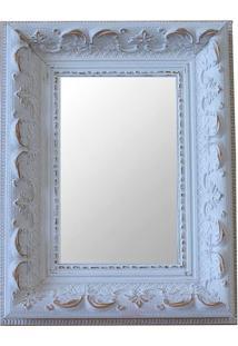 Espelho Moldura Rococó Raso 16167 Branco Patina Art Shop