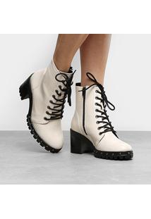 eef0fa65bf R$ 174,99. Zattini Coturno Ramarim Oversized Feminino Branco Rock Tachas  Verniz Jeans Bota - Feminino-Branco Tratorado