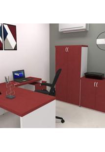 Armário 2 Portas 3 Prateleiras Natus 40Mm Bramov Móveis Branco/Vermelho