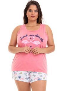 Short Doll Plus Size Regata De Flamingos Adulto Com Algodão Luna Cuore
