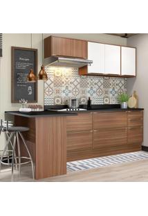 Cozinha Compacta 7 Portas Com Tampo E Rodapé 5455R Nogueira/Branco - Multimóveis