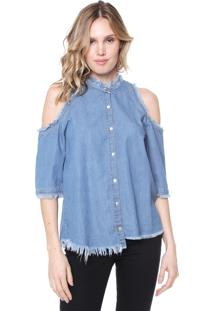 Camisa Jeans Lebôh Off Shoulders Azul