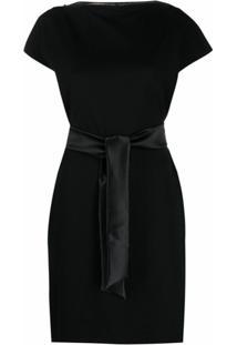 Emporio Armani Vestido Slim Com Amarração Na Cintura - Preto
