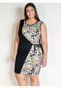 Vestido Curto Floral Com Sobreposição Plus Size