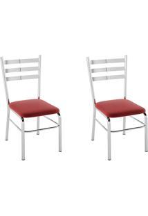Kit 2 Cadeiras Pc09 Assento Nobuck Vermelho - Pozza