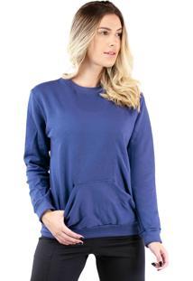 Casaco Blusa Moletom Flanelado Bolso Bravaa Modas 033 Azul