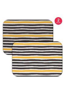 Jogo Americano Love Decor Wevans Abstrato Stripes Preto/Amarelo