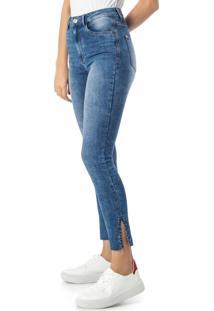 Calça Azul Skinny Em Jeans Cintura Alta