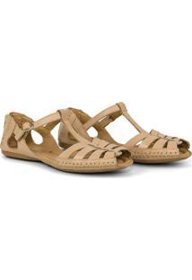 Sandália Rasteira Em Couro Confortável - Tricae