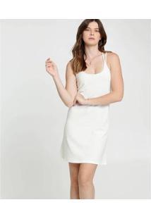 Vestido Feminino Textura Alças Finas - Feminino-Bege Claro