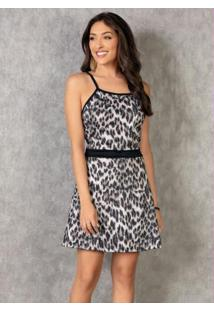 Vestido Evasê Com Gola Halter Animal Print