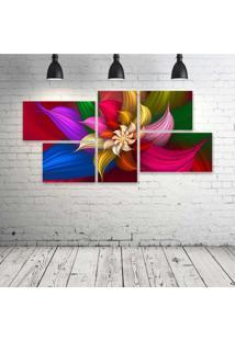 Quadro Decorativo - Petal-Floral - Composto De 5 Quadros