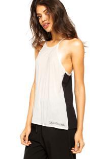 7ad16699ade14f Dafiti Regata Calvin Klein Jeans Alcinhas Off-White/Preta