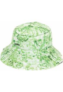 Ganni Chapéu Bucket Com Logo Bordado E Estampa Floral - Verde