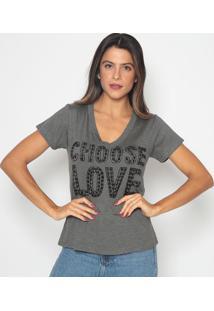 Blusa ''Choose Love''- Cinza Escuro & Preta- Cavalarcavalari