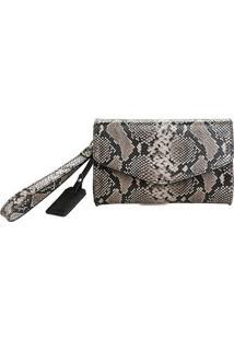 Bolsa Shoestock Clutch Snake Feminina - Feminino-Preto+Branco