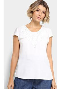 Blusa Mi Com Renda Feminina - Feminino-Branco