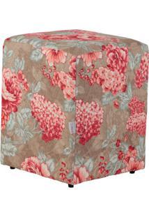 Puff Quadrado Cubo Jacguard Floral Rosa E Marrom