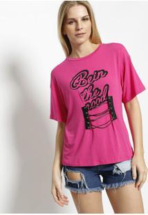 Blusa Com Recorte & Amarração - Pink & Preta - Água Água Viva