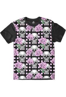 Camiseta Bsc Caveira S E Poa Sublimada Masculina - Masculino-Preto