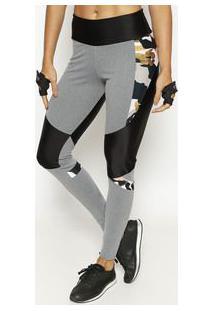 Body For Sure Legging Camuflada Com Recortes Verde & Preta