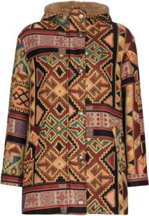 Etro Aztec-Pattern Shearling Jacket - Marrom