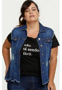 Colete Feminino Jeans Destroyed Plus Size