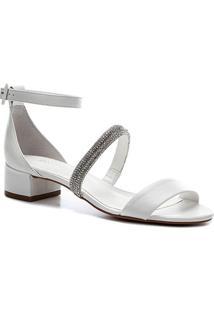Sandália Shoestock Bride Couro Tira Malha Strass - Feminino-Branco