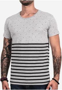 Camiseta Meio A Meio Listrada Mescla 101728