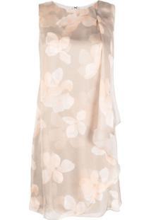 Emporio Armani Vestido Reto De Seda Com Estampa Floral - Neutro