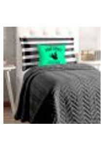 Kit Cobre Leito Solteiro Preto Matelado 4 Peças Com Porta Travesseiro Estampado E Almofada Decorativa