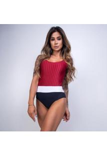 Body Honey Be Textura Listrado Feminino - Feminino-Vermelho