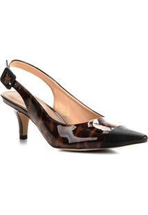 Scarpin Shoestock Tartan Salto Baixo - Feminino-Preto+Caramelo
