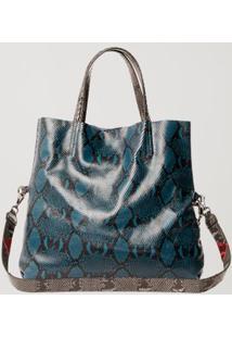 Bolsa De Couro Shopping Bag Recortes Snake Azul - U