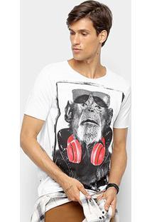 Camiseta Derek Ho Monkey In Headset Masculina - Masculino-Branco