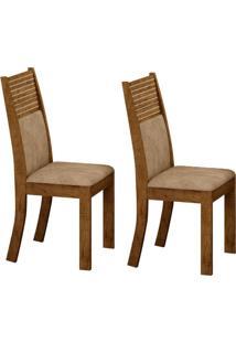 Conjunto Com 2 Cadeiras Havaí Ipê E Cinza