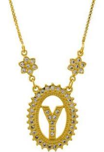 Colar Horus Import Letra Y Zircônia Banhado Ouro 18K Feminino - Feminino-Dourado