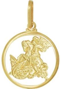 Pingente Prata Mil Vazado São Jorge Vazado Dourado