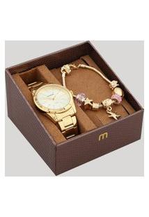 Kit De Relógio Analógico Mondaine Feminino + Pulseira - 83335Lpmvde2Kb Dourado