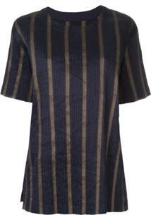 Uma Wang Blusa Listrada Mangas Curtas - Azul
