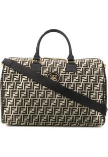 Fendi Jacquard Ff Logo Weekender Bag - Dourado