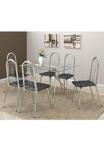 Mesa 387 Com Vidro Incolor Cromada Com 6 Cadeiras 182 Fantasia Preto Carraro