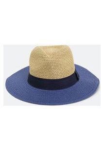 Chapéu Panamá Papel Com Aba Contrastante | Bossa Nossa | Azul | U