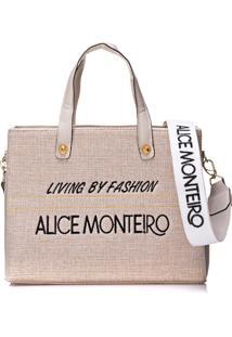 Bolsa Alice Monteiro Bordado Frase - Off White