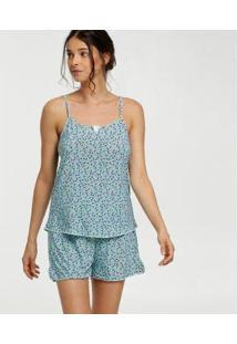 Pijama Liganete Estampa Floral Marisa Feminino - Feminino-Azul