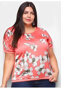 Blusa Heli Plus Size Punho Retínea Floral Feminina - Feminino-Laranja