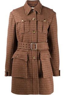 Chloé Belted Houndstooth Jacket - Marrom